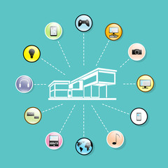 modern house network connection flat icons set design