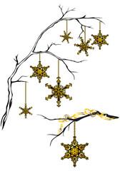 golden snowflakes decorative design elements