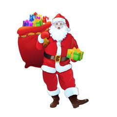 Santa Claus gift box sack full of christmas holiday present