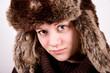 cute blue eyed girl with ushanka