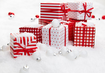 Small Handmade gift boxes in snow
