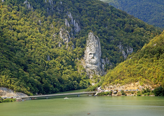 Romania, The Statue of Dacian king Decebalus, near the Orsova
