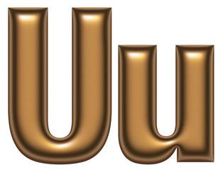 U letter of golden alphabet