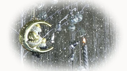 Santa Claus Ornament and Candle Under Snow Fall