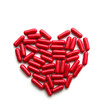 canvas print picture - Red long pills in a heart form