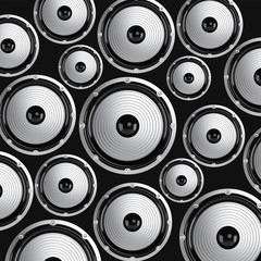 Many elegant white and black loudspeakers