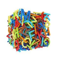 Random multicolored letters forming a cube