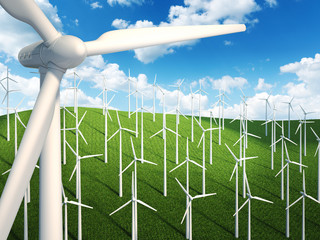Many wind turbines in the field