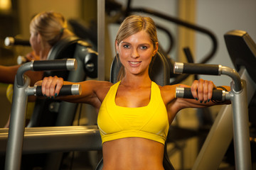 Beautiful caucasian woman working out her arms in fitness