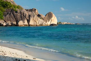 Seychelles - La Digue - Anse Source d'Argent beach at sunset