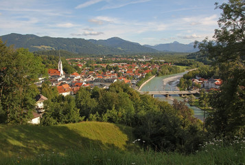 view to bad tolz and the alps, bavarian landscape, germany