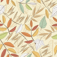 leaves on a beige background