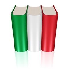 Buchreihe in den Farben der italienischen Flagge