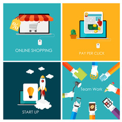 Pay Per Click, Online Shopping, Business Start Up, Team Work Fla