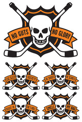 Skull with crossed hockey sticks and 5 different hockey slogans