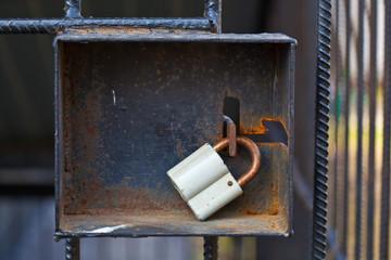 padlock on the iron door
