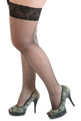 Seductive female legs wearing black stockings and high heels