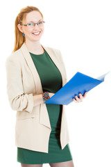 happy businesswoman stands with folder