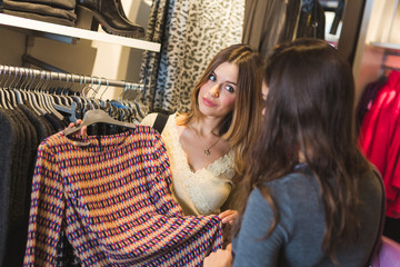 Two Young Women in a Clothing Store