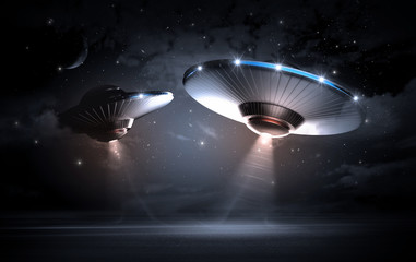 UFO in dark night