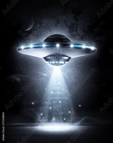 Poster Ruimtelijk UFO in dark night