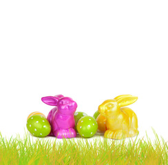 Easter eggs and funny bunny isolated on white background