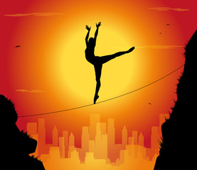 silhouette di ballerina funambola