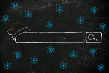 search bar with santa claus hat, concept of Christmas shopping o