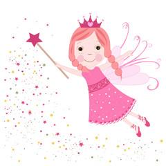 Cute fairytale pink stars shining vector