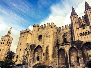 papal palace in avignon in france
