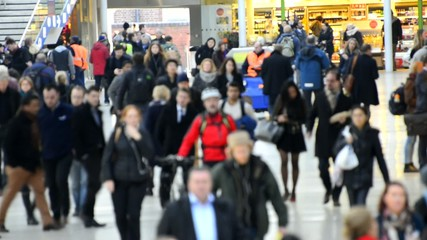 commuters walking to work, crowd of people