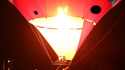 Fire Burner in hot air balloon at night