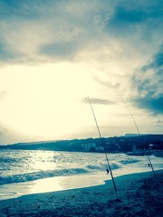 fishing rods on the mediteranean coast