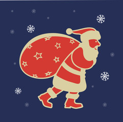 Santa Claus with a bag of gifts icon