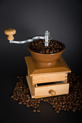 Coffee mill with black background