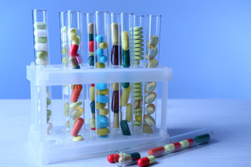 Different color drugs in test tubes,