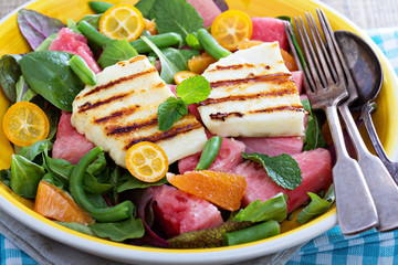 Salad with fresh watermelon and haloumi cheese