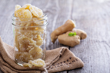 Candied ginger in a jar