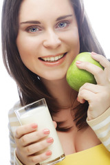 woman with  apple and a glass of milk