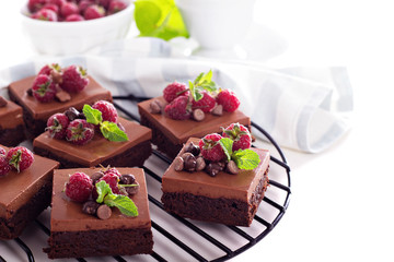 Chocolate mousse brownies with fresh raspberries