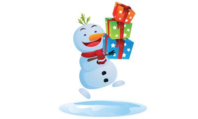 Snowman bring gift box