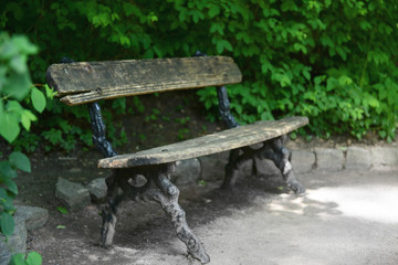 Wooden bench at park