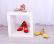 canvas print picture - Women shoes on floor in room