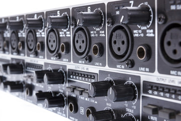 Closeup of double ULTRAZONE 8 Channel 3 Bus Mic Line Zone Mixer