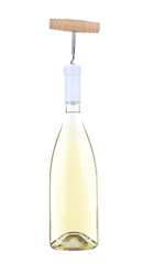 Bottle of great wine with corkscrew isolated on white