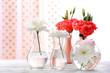 Obrazy na płótnie, fototapety, zdjęcia, fotoobrazy drukowane : Beautiful flowers in vase with light from window