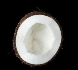 Coconut on black background