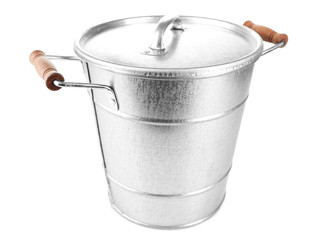 Bucket with handles isolated on white