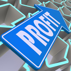Profit blue arrow