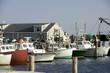 fishing boats in bay harbor marina Montauk New York USA the Hamp - 73224604